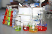 The laboratory test tubes with colorful liquid — Stock Photo