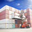 Forklift handling the container box — Stock Photo #42758277
