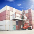 Forklift handling the container box — Stock Photo