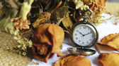 Vintage pocket watch with dry roose — Stock Photo