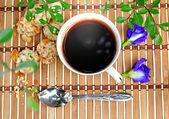 Espresso and cookies in garden — Stock Photo