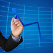 Business write growth graph — Stock Photo
