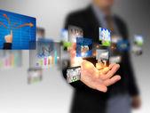 Hand met business collectie — Stockfoto