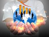 Zespół ludzi biznesu w ręku — Zdjęcie stockowe