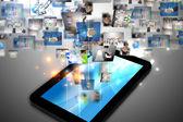 Tablet pc 上的商业世界 — 图库照片