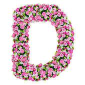 Izole kırpma yolu ile beyaz üzerinde d, çiçek alfabesi — Stok fotoğraf