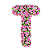 T, flower alphabet isolated on white with clipping path — Stock Photo