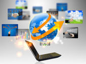 Laptop and business world — Stock Photo