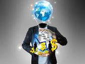 Empresário de idéia segurando o mundo dos negócios — Fotografia Stock