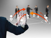 Businessman holding social network — Stock Photo