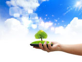 Touch screen.eco concept — Stock Photo