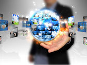 Hand holding business world — Stock Photo