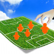 Stock Photo: Soccer manager drawing tactical pl