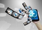 Businessman holding business world  — Stock Photo