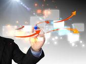 Desenho diagrama de negócios empresário — Foto Stock