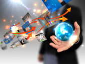 Businessman holding world, connected — Stock Photo
