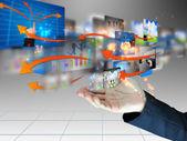 Kaufmann Holding-social-media — Stockfoto