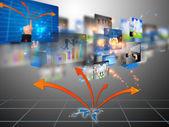 Medios de comunicación social, conectado — Foto de Stock