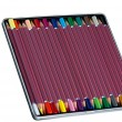 A set of brightly colored  wooden slate pencils in metal tin box. — Stock Photo