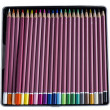 A set of brightly colored wooden slate pencils in metal tin box. — Stock Photo #35191145