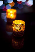 Candlelights with Lights on Background — Stok fotoğraf