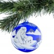Christmas toy ball of blue with a picture of a bear. — Stock Photo #35800953