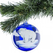 Christmas toy ball of blue with a picture of a bear. — Stock Photo