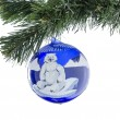 Christmas toy ball of blue with a picture of a bear. — Stock Photo #35800985