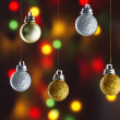 Christmas balls on strings — Stock fotografie