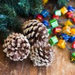 Christmas composition with garland and bumps — Foto Stock #35542559