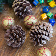 Christmas composition with garland and bumps — Stockfoto