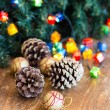 Christmas composition with garland and bumps — Foto Stock #35542629