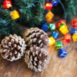Stock Photo: Christmas composition with garland and bumps