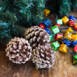 Christmas composition with garland and bumps — Foto Stock #35542985