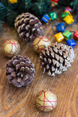 Christmas composition with garland and bumps — Foto de Stock