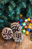 Christmas composition with garland and bumps — Stock Photo