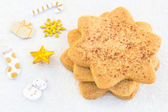 Star-shaped shugar cookies close-up on a white background — Stock Photo