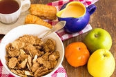 Delicious and healthy granola with dry fruits, nuts and milk. — Stock Photo