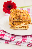 Slices of delicious fresh baked  apple cake on a wooden surface — Foto de Stock