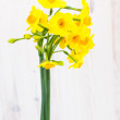 Bouquet of yellow lent lilly (daffodil) on wooden surface — Stock Photo #41672065