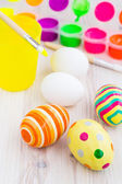 Easter eggs and process of painting eggs — Stock Photo