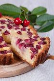Slice of сherry pie — Stock Photo