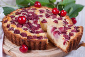 Slice of сherry pie — Stock Photo