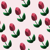 Seamless pattern with red tulips. Vector illustration — Stock vektor