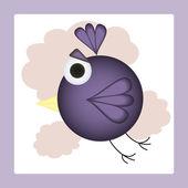 Vliegen in wolken cartoon vogel. vectorillustratie — Stockvector