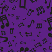 Musical Notes Seamless Pattern Violet — Vector de stock