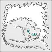 Fluffy Frame With White Fluffy Cat Vector Illustration — Stock Vector