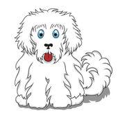 かわいいフワフワ漫画犬。ベクトル イラスト — ストックベクタ