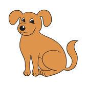 Lindo perro sonriente rojo sobre fondo blanco — Vector de stock