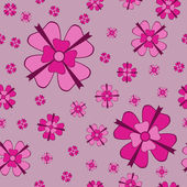 Pink flowers with bows seamless pattern — Stock Vector